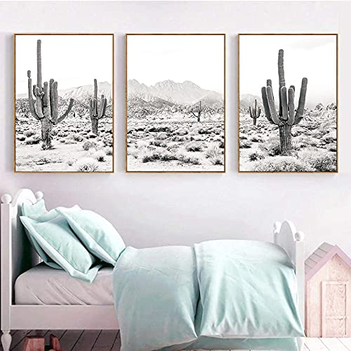 Desert Landscape Black and White Print Photography Poster Saguaro Cactus Art Canvas Painting Picture Home Wall Art Decor Unframed