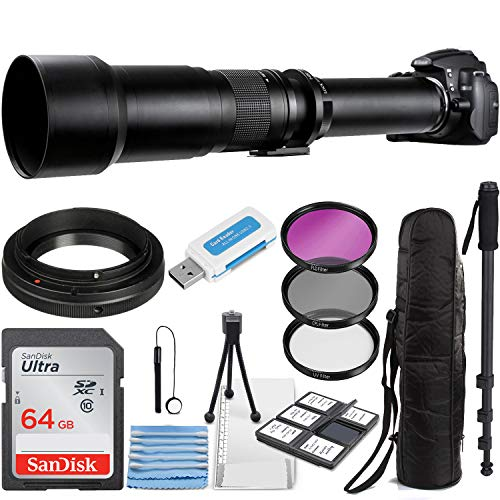 Commander Optics Super 650-1300mm f/8 Manual Telephoto Zoom Lens for Canon EOS EF-S DSLR Cameras with T-Mount + Photo Essential Accessory Kit
