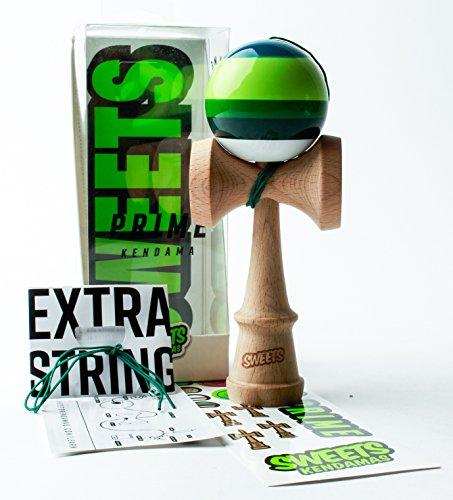 Sweets Kendamas 5-Stripe Prime Kendama - All Levels, Stripe Design, Extra String Accessory Gift Bundle (Dougie)