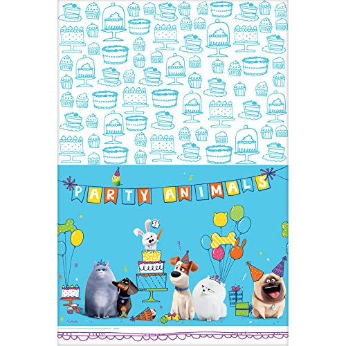Amscan 571863 The Secret Life Of Pets 2 Blue Plastic Party Table Cover, 54' x 96', 1 piece