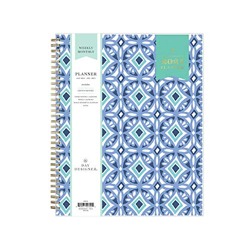 Day Designer for Blue Sky 2021 Weekly & Monthly Planner, Frosted Flexible Cover, Twin-Wire Binding, 8.5' x 11', Tile (101411-21)