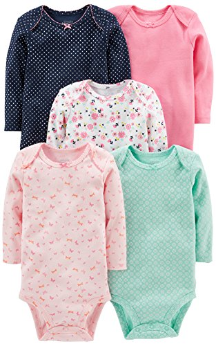 Simple Joys by Carter's Baby Girls' 5-Pack Long-Sleeve Bodysuit, Pink/Navy/Mint, Newborn