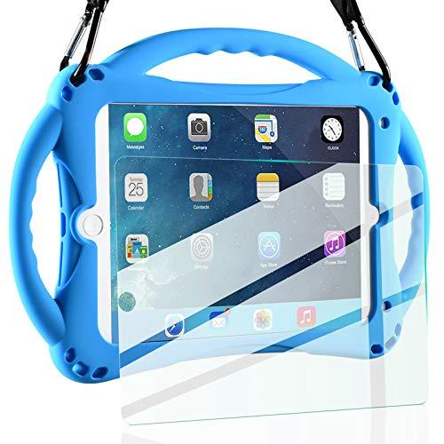 iPad Mini Case Kids Shockproof Handle Stand Cover&(Tempered Glass Screen Protector) for iPad Mini, Mini 2, Mini 3 and iPad Mini Retina Models (Blue)