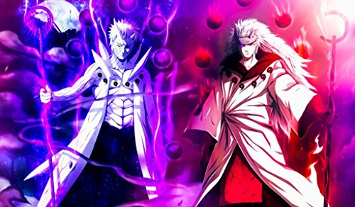 Masters of trade Obito Madara Naruto TCG playmat, gamemat 24' Wide 14' Tall for Trading Card Game Smooth Cloth Surface Rubber Base