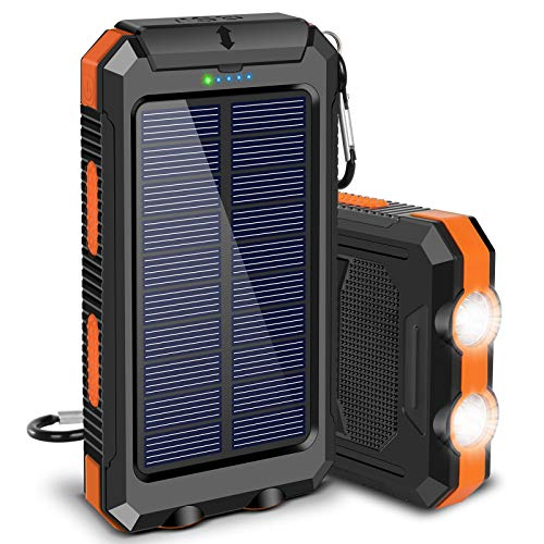 Solar Charger 20000mAh, Suscell Portable Solar Power Bank for Cell Phone Camping External Backup Battery Pack Charger, with 2 LED Flashlight, IPX4 Splashproof and Shockproof for Outdoor Activities