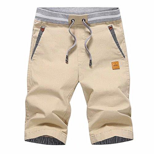 STICKON Men's Shorts Casual Classic Fit Drawstring Summer Beach Shorts with Elastic Waist and Pockets (Khaki, US XL=4XL)