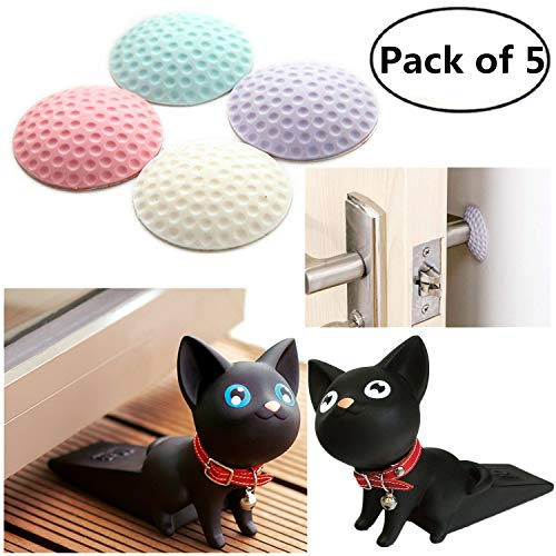 Silicone Door Stopper and Wall Protector, Cute Cat Door Wedge Children Protector Self-adhesive Crash Pad, Door Lock Handle Bumper Golf Rubber Guard Stopper,One Pack of 5 (Black Cat White Blue Pink Pur