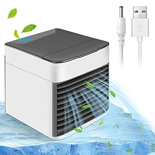Portable Air Conditioner, High-Speed Mute Button Small Desktop Fan with 3 Speeds and LED Lights, Evaporative Humidification Family Car USB-Powered Best Mini Air Cooler to Accelerate Air Flow(Upgraded)