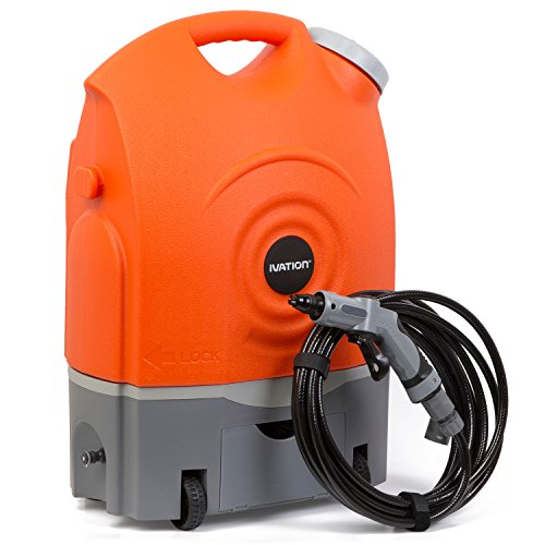 Ivation Multipurpose Portable Spray Washer w/Water Tank - Runs on Built-In Rechargeable Battery, Home Plug & 12v Car Plug - Integrated Roller Wheels