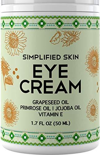 Nourishing Eye Cream for Dark Circles, Fine Lines, Sagginess & Puffiness. Best Under & Around Eyes Moisturizing Treatment with Organic Jojoba oil, Vitamin E & Witch Hazel by Simplified Skin 1.7 oz
