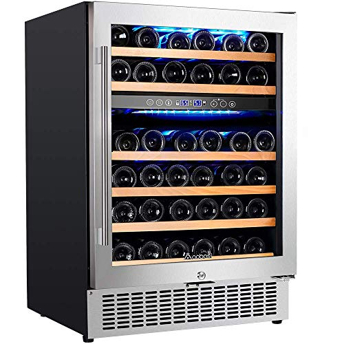 【Upgraded】Aobosi 24 Inch Dual Zone Wine Cooler 46 Bottle Freestanding and Built in Wine Refrigerator with Advanced Cooling System, Quiet Operation, Blue Interior Light | Easily Store Larger Bottles…