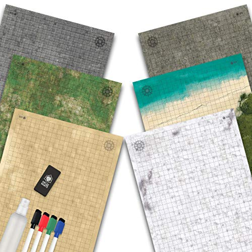 Battle Grid Game Mat - 3 Pack DOUBLESIDED - Portable Tabletop Role-Playing Map - Dungeons RPG Dice Dragons Starter Set - Tabletop Gaming Paper Terrain - Reusable Figure Board Game - 24 x 36