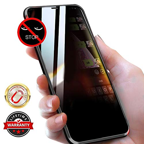 WiaNing Anti Peeping Magnetic Case for iPhone 7plus/8plus, Privacy Case with Clear Double Sided Tempered Glass [Magnet Absorption Metal Bumper Frame] 360°Protection for iPhone 7plus/8plus-Black