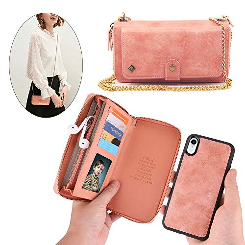 iPhone Xs Max Wallet Case - JAZ Crossbody Chain Satchel Zipper Purse Detachable Magnetic 14 Card Slots Momey Pocket Clutch Leather Wallet Case for Apple iPhone Xs Max Rose Gold