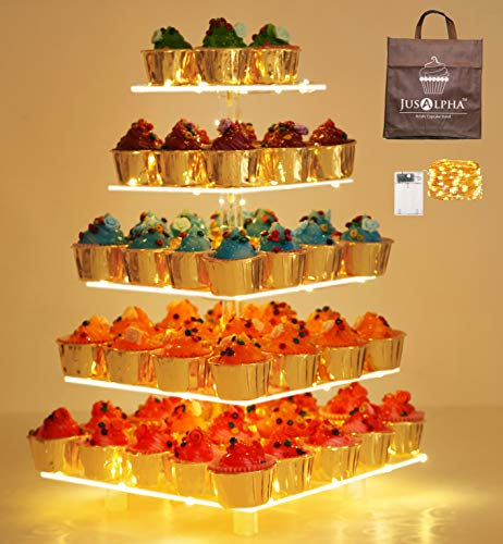 Jusalpha 5 Tier Square Cupcake Stand - Premium Cupcake Holder - Acrylic Cupcake Tower - Ideal for Weddings Birthday Parties, Candy Bar Decor 5SF-S (LED Light Option: Battery)…