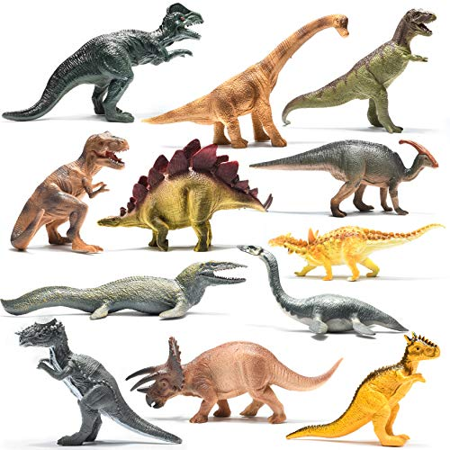 Prextex Realistic Looking 10' Dinosaurs Pack of 12 Large Plastic Assorted Dinosaur Figures
