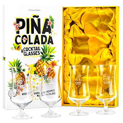 Large 15 oz Pina Colada + Hurricane Cocktail Drinking Glasses | Set of 4 Poco Grande Style Cups | Tall Stemmed Tulip Shaped Crystal Glassware for Tropical Bar Drinks, Daiquiri, Bloody Mary, Mai Tai