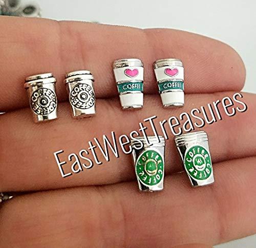Coffee Cup Coffee lover stud earrings-Steel-For women teens