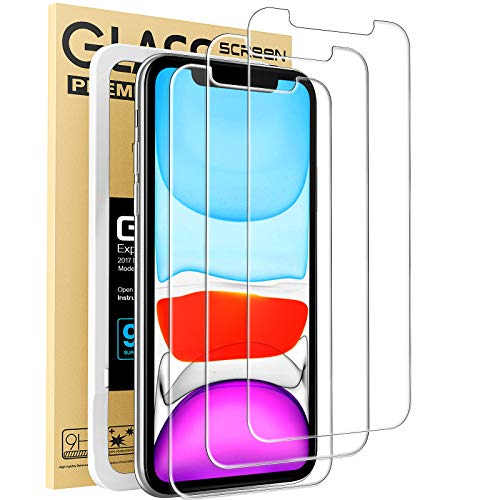Mkeke Compatible with iPhone XR Screen Protector, iPhone 11 Screen Protector, Tempered Glass Film for Apple iPhone XR and iPhone 11, 3-Pack Clear