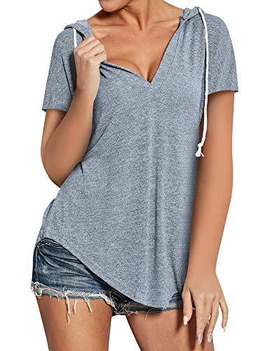 Ezcosplay Women Deep V Neck Solid Pullover Drawstring Loose Sweatshirt Hoodies (Large, S-Grey)