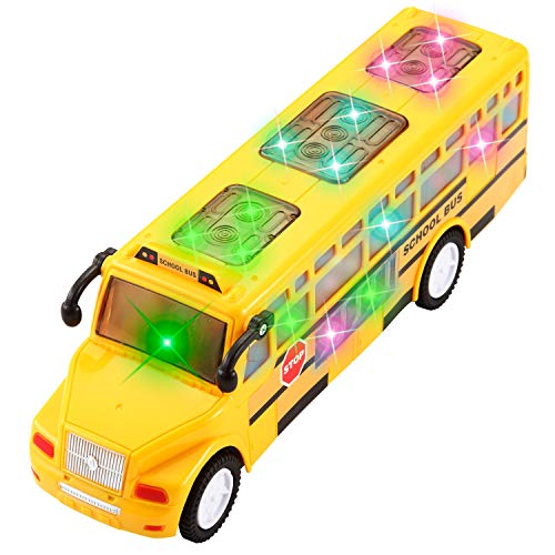 JOYIN Automatic Bump and Go School Bus Toy Can Moving-Around with 3D 4D Lights and Sounds Sirens for Kids