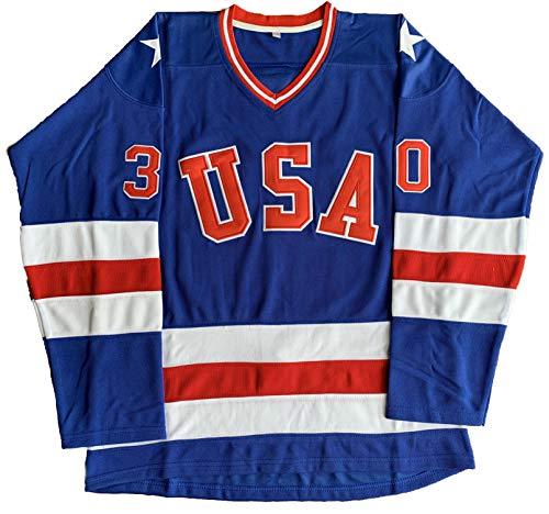 1980 USA Olympic Hockey #21 Mike Eruzione #17 O'Callahan #30 Jim Craig Miracle On Ice USA Jersey White Blue (30 Blue, X-Large)