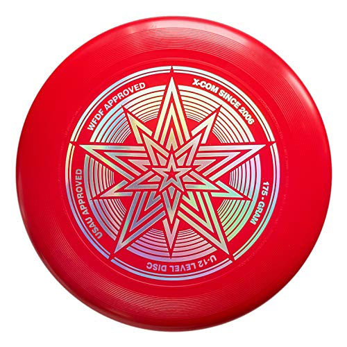 HHD-X Com Frisbee-Ultimate Star 175g Sport Disc. Outdoor Game -Features Durable, Weather Resistant Material PE 1 Flying Disc. The Best Hotfoil Glint Image. (Red)