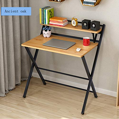 Small Folding Desk Computer Desk Writing Desk Portable Small Lazy Foldable Table Laptop Desk Small Oak Desks Home Office Desk for Small Space, Save Space, No Assembly Required, Ancient Oak (Khaki)
