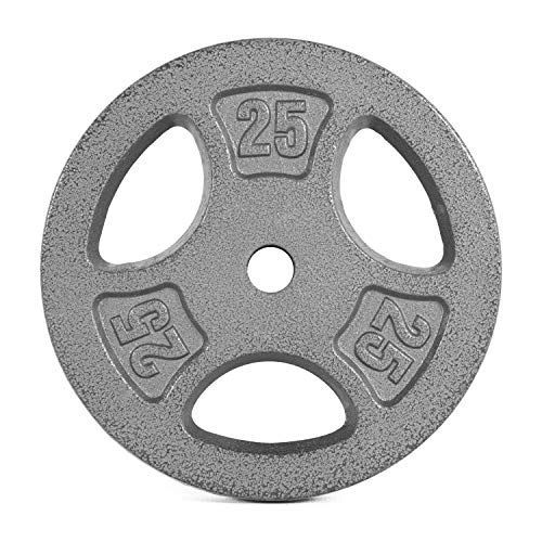 CAP Barbell Standard 1-Inch Grip Weight Plates, Single, Gray, 25 Pound