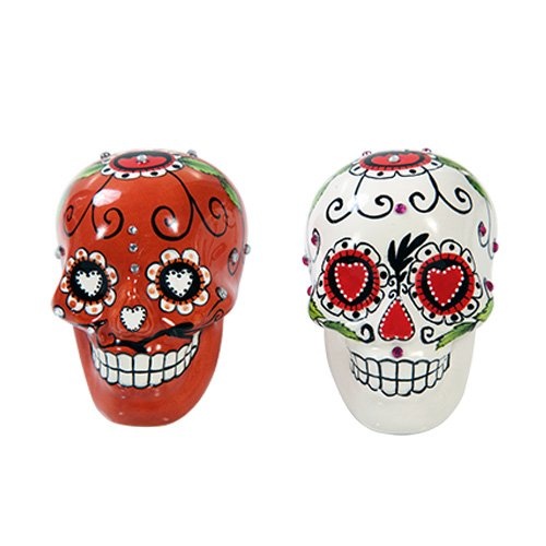 Pacific Giftware Day of Dead Sugar White & Red Skulls Salt & Pepper Shakers Set Rhinestone DOD