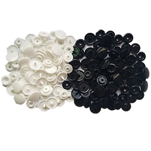 Snaps 200 Sets White & Black Snaps Size 20 (1/2 Inch) Plastic Snaps Fastener Punch No-Sew Poppers Button Rivet Stud for Bibs Diapers Crafts