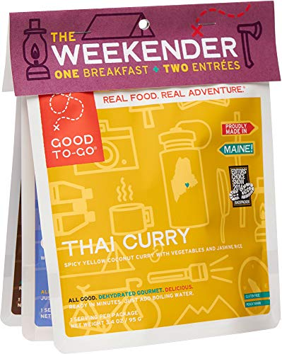 GOOD TO-GO Weekender 3-Pack Variety #1   2 Entrees + 1 Breakfast   Thai Curry, Granola, Mexican Quinoa Bowl   Dehydrated Backpacking and Camping Food   Gift Ideas   Easy to Prepare