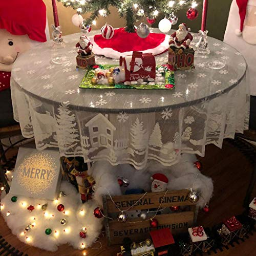 Asunflower Holiday Tablecloths Round 70' x 70' White Snowflake Elk Modern Christmas Table Cloths Cover