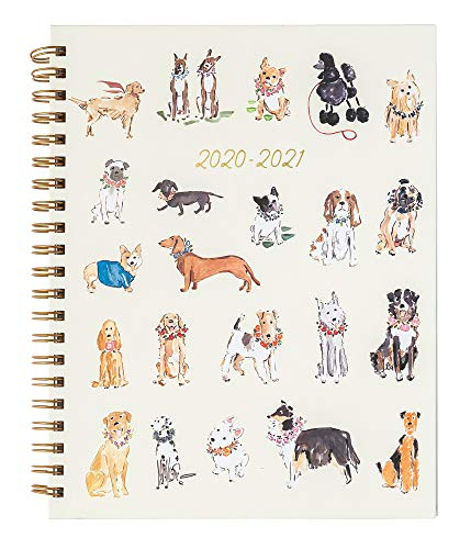 2020-2021 Eccolo Large Desk Size Hardcover Spiral Agenda Planner, 18 Months of Monthly & Weekly Views, 8.5 x 11', Watercolor Dogs