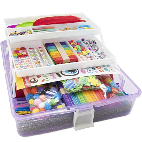 Olly Kids Arts and Crafts Supplies Set- 1000+ Pieces Giftable Craft Box for Kids: DIY Craft Supplies for Toddlers, School Project, and Homeschool