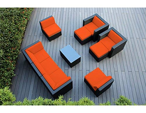 Ohana 10-Piece Outdoor Patio Furniture Sectional Conversation Set, Black Wicker with Orange Cushions - No Assembly with Free Patio Cover