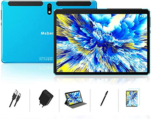 Android 10.0 Tablet : MEBERRY 10 inch Tablets with 4GB RAM+64GB ROM| 128GB Expansion| Octa-Core Processor| Google Certified| 8000mAh Battery| WiFi| GPS| Double Camera, Blue