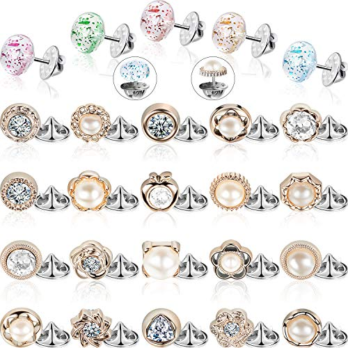 Hicarer 30 Pieces Women Shirt Brooch Buttons Cover up Button Pin Safety Brooch Buttons for Clothing Dress Supplies