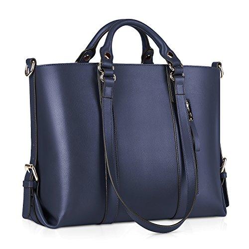 Kattee Women's Genuine Leather Handbags for Women, Tote Bags and Cross-body Purses Dark Blue