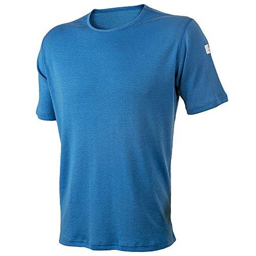 Janus Summerwool 100% Merino Wool Men's T-Shirt Machine Washable. Made in Norway (Blue, Small)