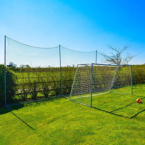 Net World Sports Stop That Ball System [5 Sizes] | Freestanding Ball Stop Netting for Backyard | Soccer Ball Stopping Net System - Behind Goal Soccer Net (02. 20ft Wide)