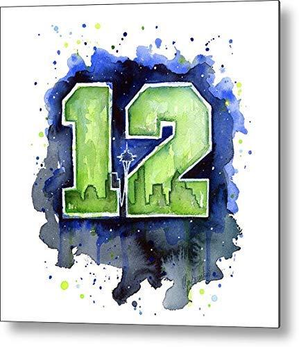 Anjoes 12th Man Seahawks Art Seattle Go Hawks Vintage Retro Rustic Metal Tin Sign Pub Wall Deor Art 12x12 Inches