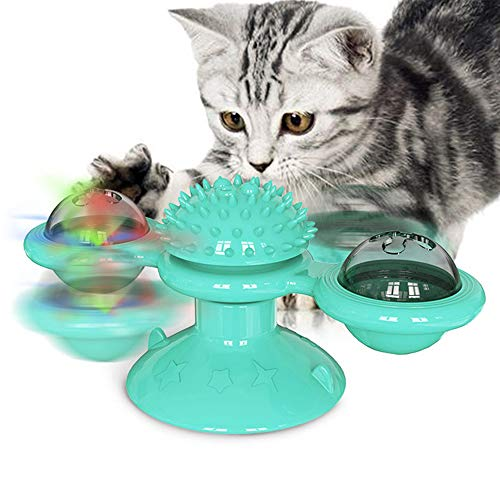 M&MKPET Cat Toys Interactive Rotating Windmill Cat Toy with Catnip and Little Bell for Cat Kitten Toys for Indoor Cats