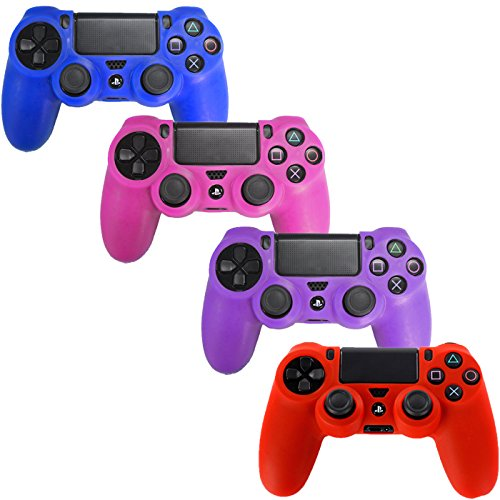 HDE Controller Skins for PS4 Controller 4 Pack Combo Silicone Rubber Protective Grip for Sony Playstation 4 Wireless Dualshock Game Controllers (Blue, Red, Purple, Pink)