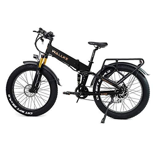 W Wallke Electric Mountain Bike - 26inch Seamless Welding Aluminum Alloy Frame Fat Tire Electric Bicycle 48V 14AH Lithium Battery Adult Bike 750W E-Bike (Matte Black)