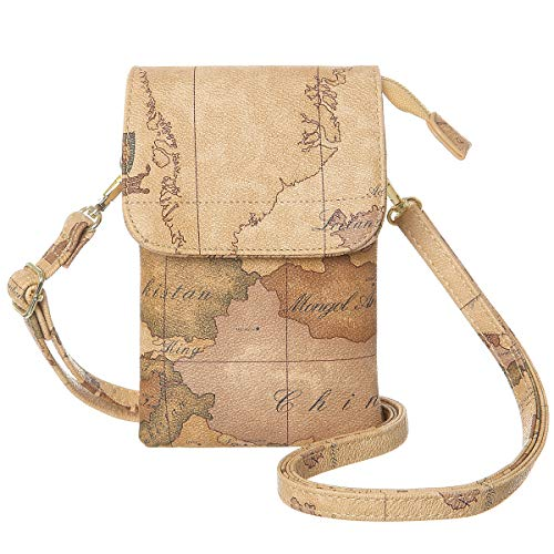 MINICAT Women World Map Series Synthetic Leather Small Crossbody Cell Phone Purse Wallet Smartphone Bags For Travel(Map-RFID Blocking)
