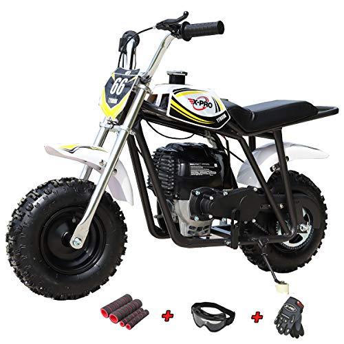 X-PRO 40cc Mini Dirt Bike Mini Pit Bike Dirt Bikes Motorcycle Gas Power Bike Off Road with Gloves, Googles and Face Mask(Black)