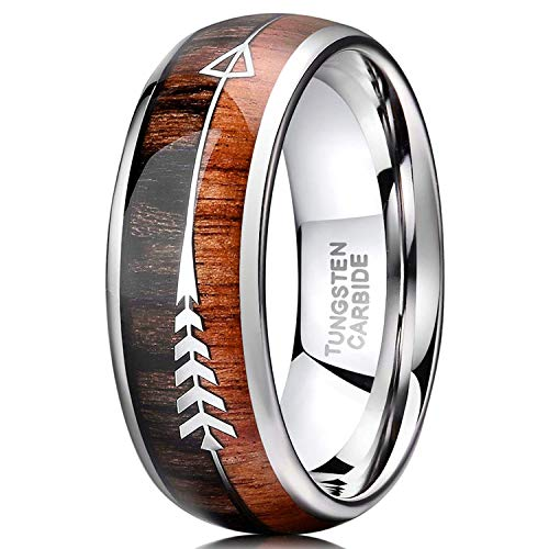 TRUMIUM 8mm Tungsten Wedding Ring Koa Wood Arrows Inlay Vikings Hunting Ring Band Dome Comfort Fit Size 12.5