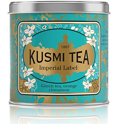 Kusmi Tea - Imperial Label - Sencha Green Tea Blend with Orange, Cardamom, Cinnamon Bark, Aniseed & Ginger - 8.8oz of All Natural Premium Loose Leaf Green Tea in Eco-Friendly Metal Tin (100 Servings)
