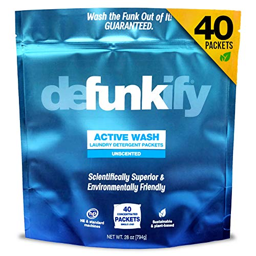 Defunkify Active Wash Laundry Detergent Powder, Sustainable, Plant-Based and Eco-Friendly, Active Wear Odor and Stain Remover, Free and Clear, Unscented and Safe for All Ages - 28 oz (40 Loads)